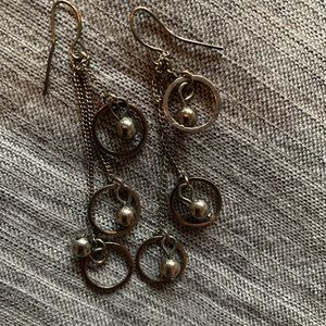 Dangle silver ball and hoop earrings
